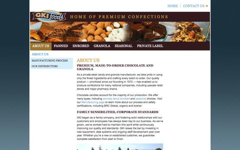 Screenshot of About Page gkifoods.com - About Us | GKI Foods, LLC - captured Oct. 1, 2014