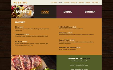 Screenshot of Menu Page postinowinecafe.com - Menu | Postino - captured March 8, 2016