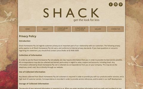 Screenshot of Privacy Page shack.com.au - Privacy policy - captured Dec. 1, 2016