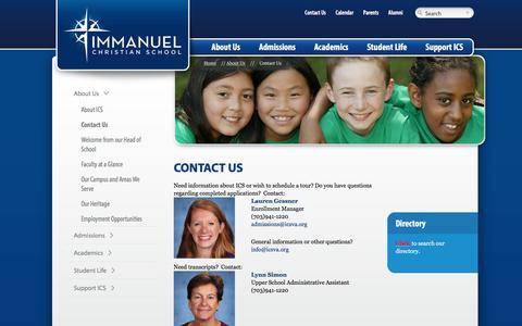 Screenshot of Contact Page icsva.org - Contact Us - Immanuel Christian School Immanuel Christian School - captured Oct. 14, 2017