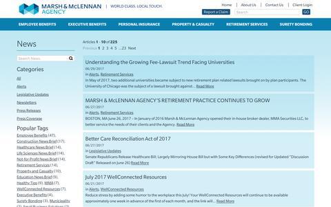 Screenshot of Press Page mma-ne.com - News & Announcements - Marsh & McLennan Agency - captured July 6, 2017