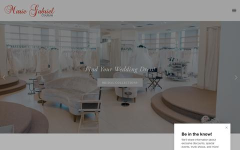 Screenshot of Home Page mariegabrielcouture.com - Indianapolis, IN Bridal Store & Wedding Dresses | Marie Gabriel Couture - captured July 26, 2018