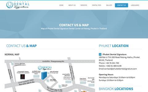 Screenshot of Contact Page Maps & Directions Page phuketdentalsignature.com - Contact Phuket Dental Center - captured June 17, 2016