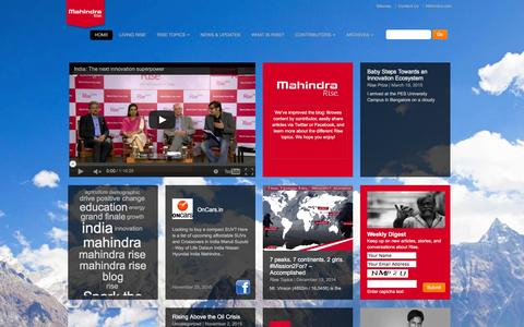Screenshot of Blog mahindra.com - Mahindra Rise. empower yourself - captured Dec. 1, 2015