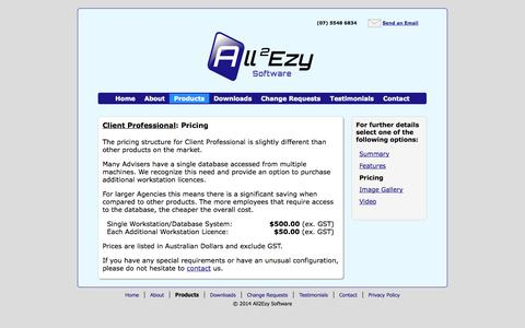 Screenshot of Pricing Page all2ezy.com - All2Ezy Software: Client Professional Pricing - captured Oct. 4, 2014