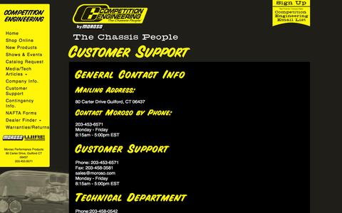 Screenshot of Support Page competitionengineering.com - Customer Support | Competition Engineering - captured March 17, 2016