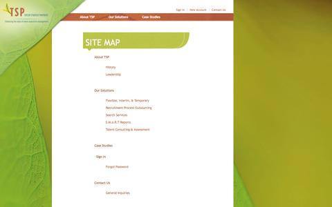 Screenshot of Site Map Page taylor-strategy.com - Taylor Strategy Partners - Site Map - captured Oct. 7, 2014