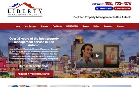 Screenshot of Home Page libertymgt.net - Property Management San Antonio, Houses for Rent in San Antonio | Liberty Management Inc., CRMC® - captured Sept. 28, 2018