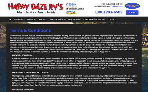 Screenshot of Terms Page happydazerv.com - Terms | Happy Daze RV | Sacramento California - captured Oct. 25, 2016