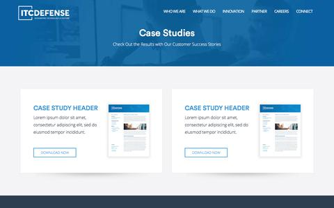 Screenshot of Case Studies Page itcdefense.com - Case Studies - ITC Defense - captured Oct. 14, 2017