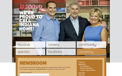 Screenshot of Press Page rickersrewards.com - Newsroom - captured Feb. 15, 2016