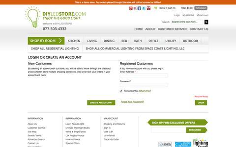 Screenshot of Login Page diyledstore.com - LED Bulbs Customer Login - captured Oct. 23, 2014
