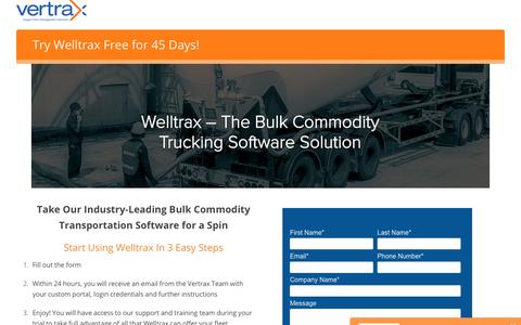 Screenshot of Trial Page vertrax.com - Free 45-Day Welltrax Trial - captured May 19, 2019