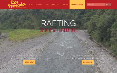 Screenshot of Home Page riostropicales.com - Rafting Costa Rica - captured Nov. 19, 2018