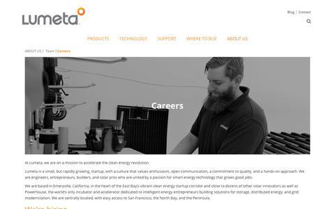 Screenshot of Jobs Page lumetasolar.com - Careers | Lumeta Solar - captured July 24, 2018