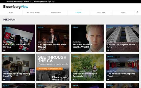Screenshot of Press Page bloombergview.com - Media - Bloomberg View - captured Oct. 21, 2015