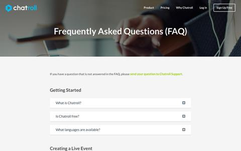 Screenshot of FAQ Page chatroll.com - Chatroll � Frequently Asked Questions - captured Oct. 25, 2015