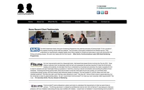 Screenshot of Testimonials Page communicatetv.co.uk - Communicate TV - captured Sept. 30, 2014