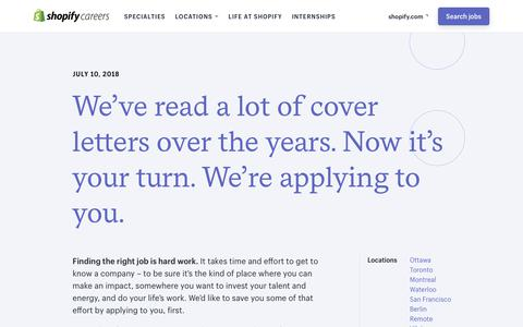 Screenshot of Jobs Page shopify.com - Careers and Jobs at Shopify - captured July 11, 2018