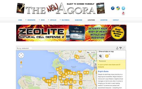 Screenshot of Locations Page newagora.ca - Locations - captured Oct. 6, 2014