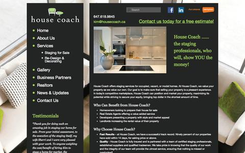 Screenshot of About Page housecoach.ca - About Us | House Coach - Toronto Home Staging - captured Sept. 30, 2014
