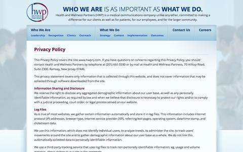 Screenshot of Privacy Page hwpnj.com - Privacy Policy   Health and Wellness Partners (HWP) of NJ - captured Oct. 2, 2014