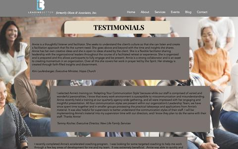 Screenshot of Testimonials Page leadingbettertogether.com - Testimonials | Leading Better Together - captured Oct. 20, 2018