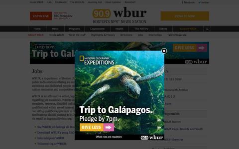 Screenshot of Jobs Page wbur.org - Jobs   WBUR - captured Oct. 2, 2015