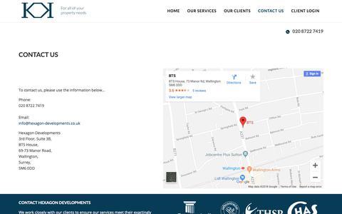 Screenshot of Contact Page hexagon-developments.co.uk - Contact us - Hexagon Developments - captured Nov. 10, 2018