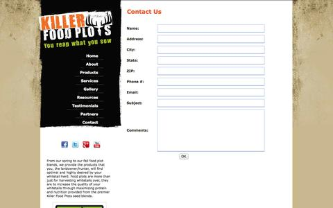 Screenshot of Contact Page Maps & Directions Page killerfoodplots.com - Contact - captured Oct. 25, 2014