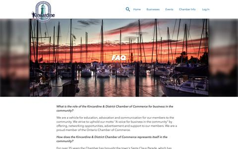 Screenshot of FAQ Page kincardinechamber.com - FAQ | Kincardine & District Chamber of Commerce - captured Oct. 15, 2018