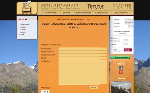 Screenshot of Jobs Page hotel-tenne.ch - Jobs - Hotel Tenne - Saas-Fee - captured Sept. 30, 2014