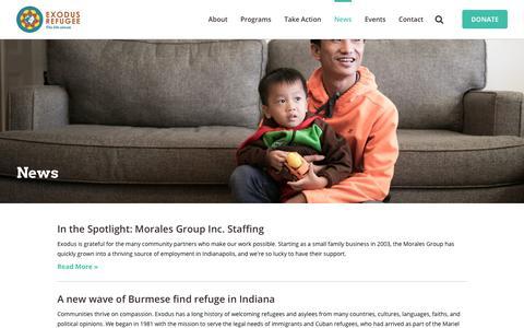 Screenshot of Press Page exodusrefugee.org - Refugee News | Exodus Refugee - captured Sept. 19, 2017