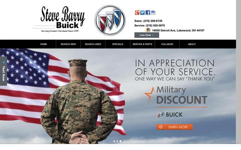 Screenshot of Home Page stevebarrybuick.com - Cleveland Area Buick Dealer - Steve Barry Buick in Lakewood, OH - New & Used Cars - captured Dec. 13, 2016
