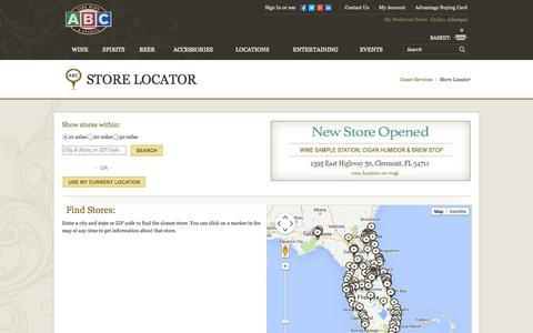 Screenshot of Locations Page abcfws.com - Store Locator: ABC Fine Wine & Spirits - captured Sept. 22, 2014