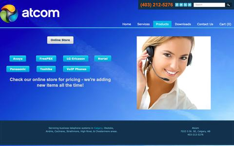 Screenshot of Products Page atcomsystems.ca - Online Business Telephone Pricing Calgary - Atcom - captured Oct. 4, 2018