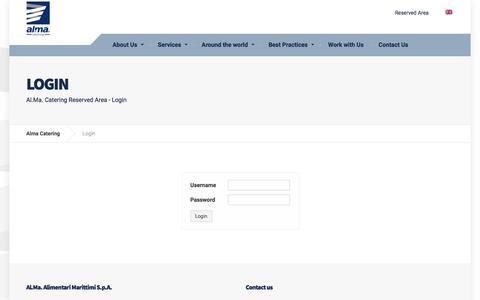 Screenshot of Login Page almacatering.com - Login - Alma Catering - captured Oct. 7, 2017