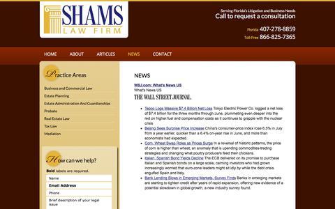 Screenshot of Press Page shamslawfirm.com - News | Shams Law Firm, P.A. | Orlando, Florida - captured Sept. 20, 2018