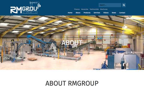 Screenshot of About Page rmgroupuk.com - Manual & automated packaging systems.Bulk Bagging Machinery,Robot Palletising, Material Handling systems,Form Fill & Seal packaging lines and Horizontal & Vertical Baling - captured Oct. 26, 2017
