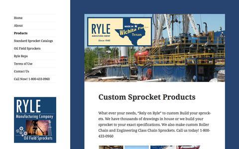 Screenshot of Products Page rylesprocket.com - Custom Sprocket Products | Ryle Sprocket Manufacturing - captured June 17, 2016
