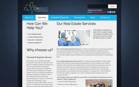 Screenshot of Services Page cnkrealty.com - Healthcare Real Estate Services: Sarasota, Bradenton, Lakewood RanchCNK Realty - captured Sept. 25, 2018