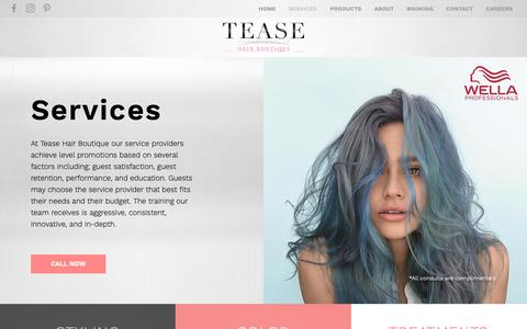 Screenshot of Services Page teasehairboutique.com - Tease | SERVICES - captured Oct. 19, 2018