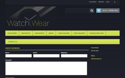 Screenshot of Contact Page watchwear.com - Contact Us - captured Nov. 28, 2016