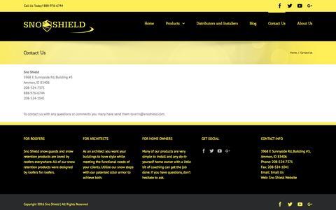 Screenshot of Contact Page snoshield.com - Contact Us - Sno Shield - captured Dec. 6, 2016