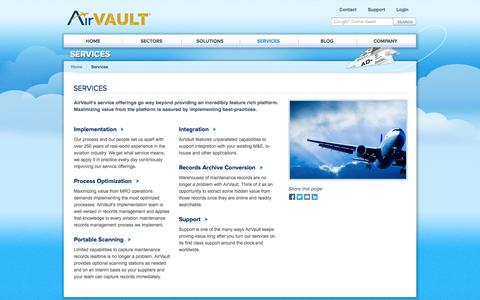 Screenshot of Services Page airvault.com - Services   AirVault - captured Sept. 30, 2014