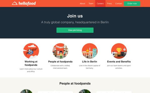 Screenshot of Jobs Page hellofood.com - Careers | Food Delivery | Order Food Online | hellofood - captured Dec. 29, 2015