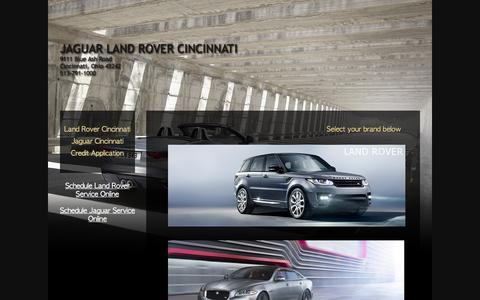 Screenshot of Home Page cincyjlr.com - Jaguar Land Rover Cincinnati Range Rover Sport Evoque LR4 LR2 XF XJ XK F-Type (513) 791-1000 - captured Oct. 6, 2014