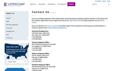 Screenshot of Contact Page lambdalegal.org - Contact Lambda Legal - captured Jan. 18, 2020