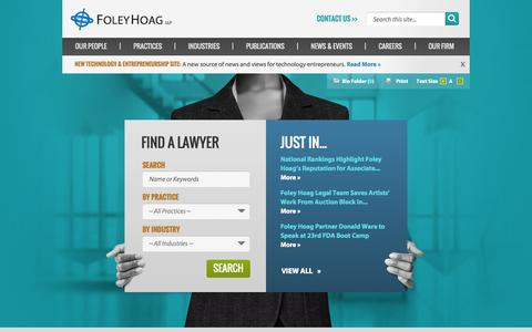 Screenshot of Home Page foleyhoag.com - Home | Foley Hoag LLP - captured Sept. 19, 2014