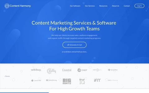 Screenshot of Home Page contentharmony.com - Content Marketing Agency - Content Harmony® - captured July 11, 2019